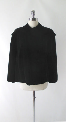Vintage 50's Black Velvet Cropped Swing Jacket / Coat L
