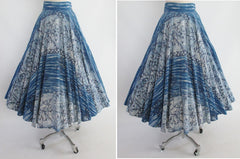 • Vintage Early 50's Rare Kamehameha Blue Hawaii Hand Painted Style Full Circle Skirt S - Bombshell Bettys Vintage
