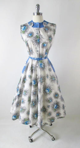 Vintage 50's Blue Roses Day Dress M