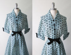Vintage 50's Sheer Blue Flocked Sarburst Dressing Gown Robe L - Bombshell Bettys Vintage