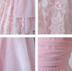 Vintage 50's Bubblegum Pink Lace & Chiffon Party Dress S - Bombshell Bettys Vintage