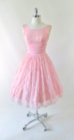 Vintage 50's Bubblegum Pink Lace & Chiffon Party Dress S