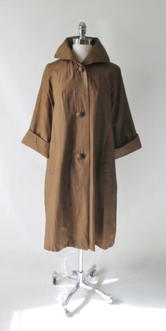 Vintage 50s Copper Brown Silk Raincoat Swing Coat