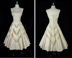 vintage 50's champaign gold embroidered leaves party dress full