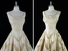 vintage 50's champaign gold embroidered leaves party dress bodice