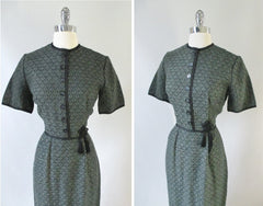 Vintage 50's Green Floral Knit Sheath Dress Tassel Detail M - Bombshell Bettys Vintage