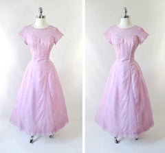 Vintage 50's Lilac Chiffon Illusion Lace Formal Gown / Party Dress M - Bombshell Bettys Vintage