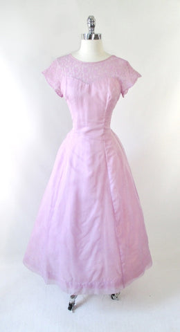 Vintage 50's Lilac Chiffon Illusion Lace Formal Gown / Party Dress M