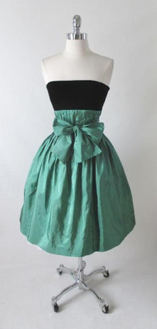 Vintage 80's Strapless Green Silk Black Velvet Full Skirt Party Dress S