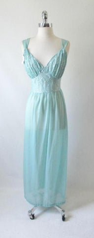 Vintage 50's Teal Embroidered Flowers Full Length Night Gown S