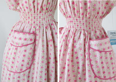 Vintage 50's Pink Roses Full Skirt Day / House Dress New Old Stock M - Bombshell Bettys Vintage