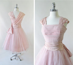 Vintage 50's Pink Tulle & Taffeta Party Dress XS - Bombshell Bettys Vintage