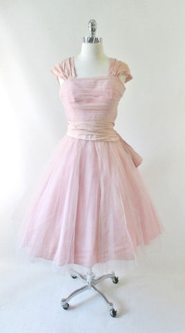 Vintage 50's Pink Tulle & Taffeta Party Dress XS