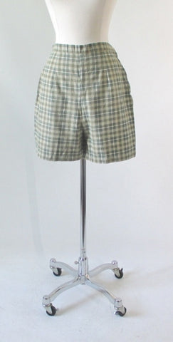Vintage 50's Green Plaid Shorts M