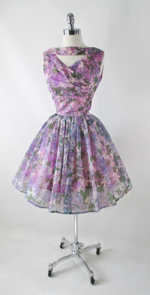 Vintage 50's Sheer Purple Floral Organdy Full Skirt Party Dress M - Bombshell Bettys Vintage