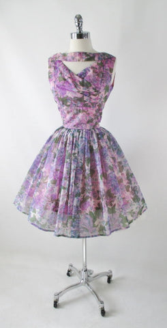 Vintage 50's Sheer Purple Floral Organdy Full Skirt Party Dress M