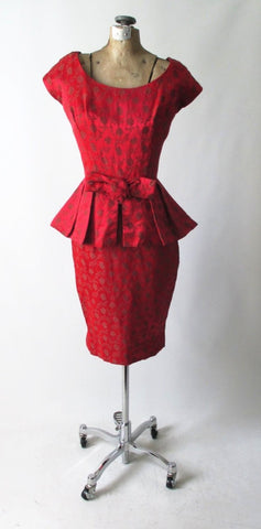 Vintage 50's Red Satin Rose Brocade Peplum Sheath Party Dress S