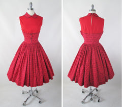 Vintage 50's Red Floral Full Skirt Day Dress M - Bombshell Bettys Vintage