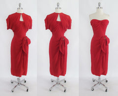 • Vintage 50's Red Rayon Strapless Sarong Evening Party Dress / Bolero Set XS - Bombshell Bettys Vintage