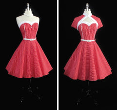 Vintage 50's Look Red Polka Dot Fit & Flare Dress Matching Bolero L / 14 - Bombshell Bettys Vintage