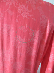 Vintage 50's Coral Pink Floral Chintz Shirtwaist Day Dress M - Bombshell Bettys Vintage