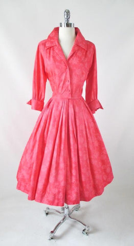 Vintage 50's Coral Pink Floral Chintz Shirtwaist Day Dress M