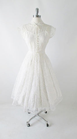 Vintage 50's White Lace Wedding Dress M