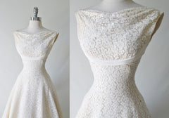 Vintage 50's White Lace Wedding Dress XS - Bombshell Bettys Vintage