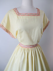 Vintage 50's 60's Sunny Yellow Full Skirt Party Day Dress L - Bombshell Bettys Vintage