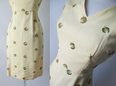 Vintage 50's Yellow Linen Embroidered Sheath Dress S - Bombshell Bettys Vintage