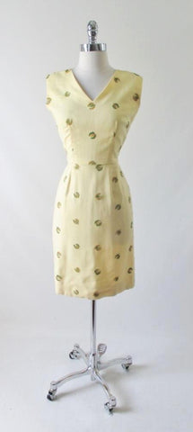 Vintage 50's Yellow Linen Embroidered Sheath Dress