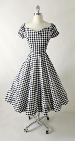 Vintage 50's Style Black & White Cold Shoulder Full Circle Skirt Day Dress L