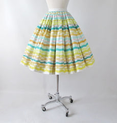 Vintage 50s Atomic Horizontal Stripe Full Skirt XS - Bombshell Bettys Vintage