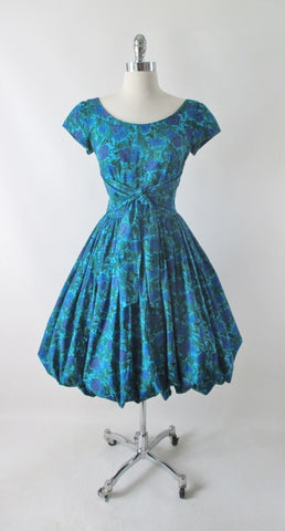 Vintage 50's Blue Purple Floral Fit & Flare Bubble Hem Party Dress S