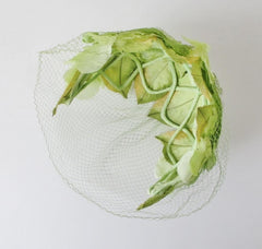 Vintage 50s Green Spring Leaves Netted Veil Headband Hat - Bombshell Bettys Vintage