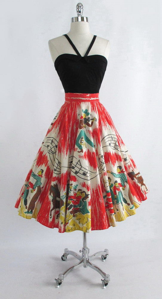 z Vintage 1950's Country Hayride Barn Dance Music Note Novelty Circle Skirt S M - Bombshell Bettys Vintage
