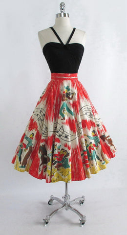 z Vintage 1950's Country Hayride Barn Dance Music Note Novelty Circle Skirt S M