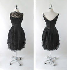 Vintage 60's 50's Black Tiered Lace & Satin Party Dress S - Bombshell Bettys Vintage