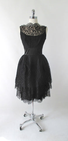Vintage 60's 50's Black Tiered Lace & Satin Party Dress S