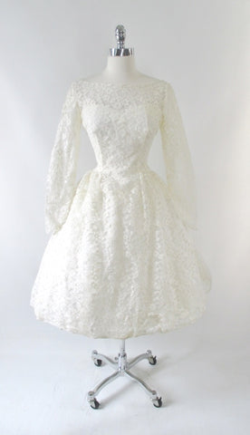 Vintage 60's Ivory White Lace Full Skirt Wedding Dress M