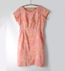 Vintage 50s 60s Pastel Watercolor Floral Swirl Sheath Dress XXL Plus - Bombshell Bettys Vintage