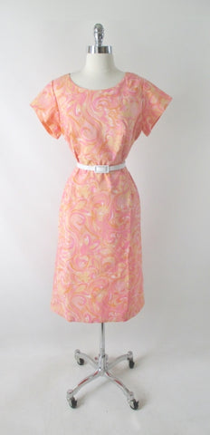 Vintage 50s 60s Pastel Watercolor Floral Swirl Sheath Dress XXL