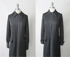 vintage 60's 70's mod gothic black white Addams stripe mod Herman Marcus shift tea dress bodice