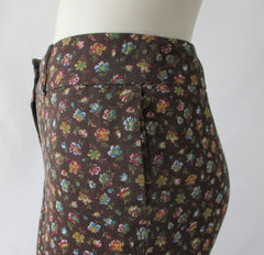 Vintage 70's Calico Flower Cotton Bell Bottom Pants S - Bombshell Bettys Vintage