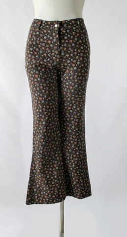 Vintage 70's Calico Cotton Bell Bottom Pants S