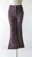 Vintage 70's Calico Cotton Bell Bottom Pants S - Bombshell Bettys Vintage