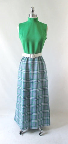 Vintage 70's MOD Green & Blue Plaid Maxi Dress M