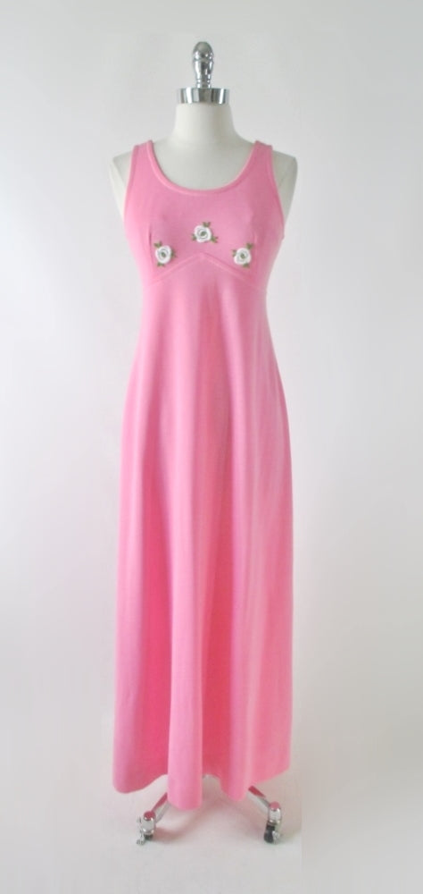 Vintage 70's Pink Jersey White Roses Maxi Dress S - Bombshell Bettys Vintage