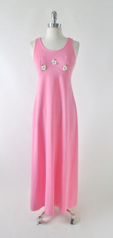 Vintage 70's Pink Jersey White Roses Maxi Dress S
