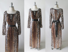 vintage 60's 70's leopard print alan r nightgown maxi lounge gown dress belted